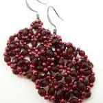 Dark Wine Beaded Earrings D..
