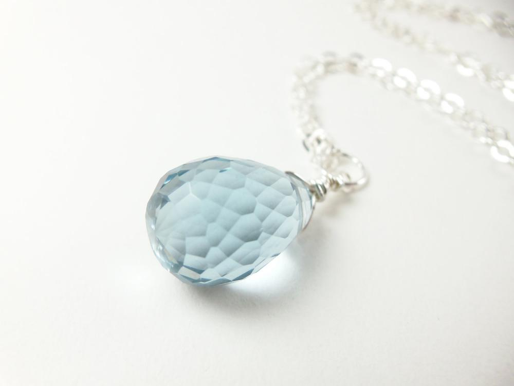Light Blue Crystal Necklace Sterling Silver Jewelry Briolette Wire Wrapped