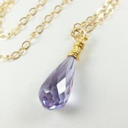 Light Purple Wire Wrapped Drop Necklace Gold Jewelry Cubic Zirconia Necklace 14K Gold