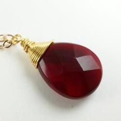 Ruby Red Quartz Gold Necklace Gem Stone Jewelry 14k Gold Red and Gold Large Drop Ruby Red Jewelry