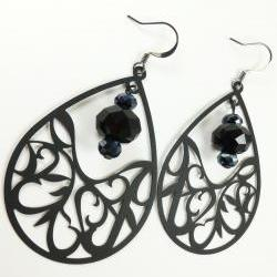 Teardrop Black Crystal Earrings Gun Metal Dark Statement Jewelry